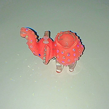 LAST ONE Bling elephant glass pipe with Swarovski Element ears! Tobacco use 3""
