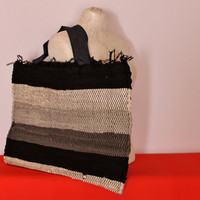 Wooven Market Bag, Reporpused Rug Tote Bag, Beach Bag, Weekend Bag