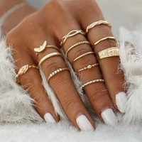 12Pcs/set Charm Gold Color Midi Finger Ring Set for Women Vintage Punk Boho Knuckle Party Rings Jewelry Gift for Girl (Color: Gold) Gift 111901