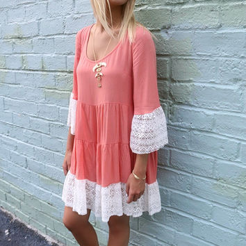 Cumberland Lace Bell Sleeve Peasant Dress Coral