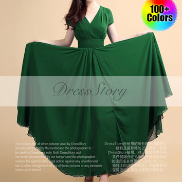 Forest Green Maxi Dress with V Neck and Cap Sleeves and High Waist Yoke - Long Green Dress - Dark Teal Maxi Dress -Prom Dress-100 Colors-157