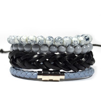 4 Pack Aqua Gray Bracelet Set