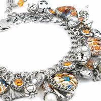 Pumpkins and Ghosts Halloween Charm Bracelet