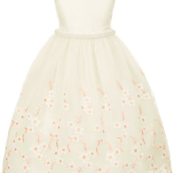 Ivory Satin with Floral Embroidered Crystal Organza Overlay Occasion Dress (Girls Sizes 2T - 12)