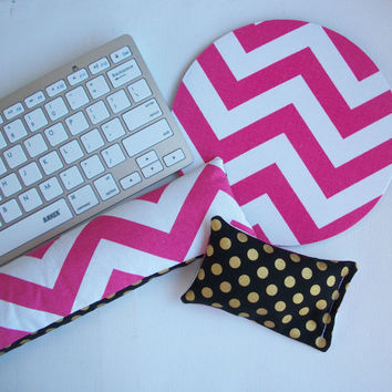 Keyboard and / or WRIST REST for MousePads Reversible pink chevron metallic gold dots black coworker desk cubical office  accessories gift