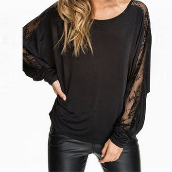 Plus Size Blusas 2017 Fashion Women Lace Stitching Long Batwing Sleeve T-shirt Sexy Tops Tee Female Casual Loose Shirts