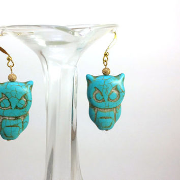 Owl Earrings // Boho Owl Charm //  Long Owl Earrings // Turquoise Owl Jewellery // Blue Owl Earrings // Stone Owls // Stone Jewelry