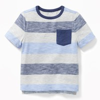 Striped Slub-Knit Pocket Tee for Toddler Boys|old-navy