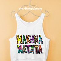 Yellow Hakuna Matata Crop Tank Top