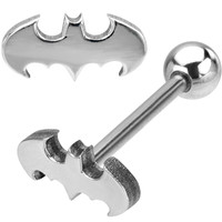 Stainless Steel Batman Barbell Tongue Ring | Body Candy Body Jewelry
