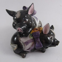Pig Salt and Pepper Shakers Hampshire Fitz and Floyd 1992