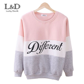 2016 Autumn and winter women fleeve hoodies printed letters Different women's casual sweatshirt hoody sudaderas EPHO80027