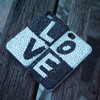 Handmade Black and White  Love Rhinestone Case for iPhone