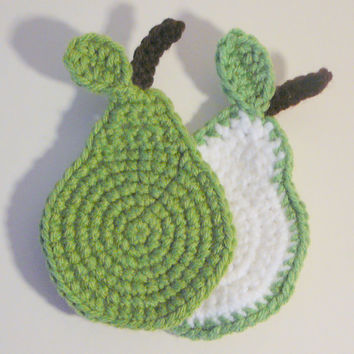 Pear Coaster PDF Crochet Pattern INSTANT DOWNLOAD