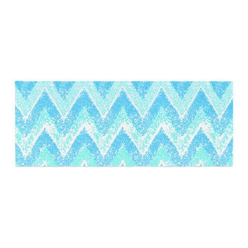 "Marianna Tankelevich ""Mint Snow Chevron"" Blue Chevron Bed Runner"