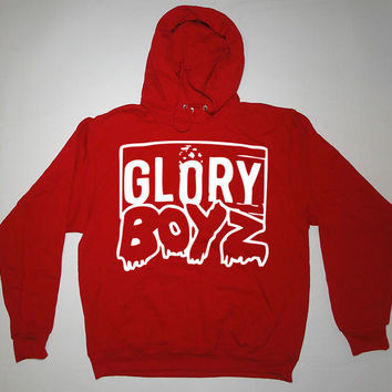 GLORY BOYZ WHITE/RED HOODIE SWEATSHIRT Chief Keef Sosa GBE 3Hunna Bang Bang