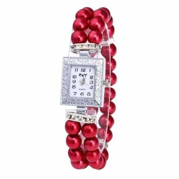 Casual Pearl String Square Simple Style Quartz Watch