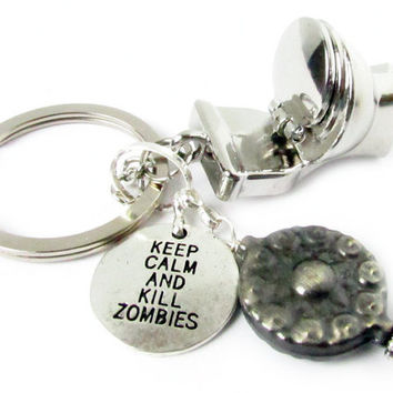 Zombie Keychain, Toilet Keychain, Plumber's Gift, Boyfriend Keychain, Kill Zombies Gift, Gift for Him, Keychain for Him, Car Accessories
