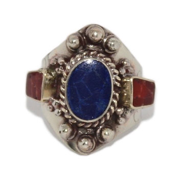 Adjustable Lapis Coral ring