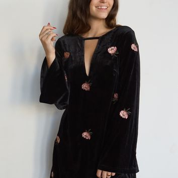 """Lotus"" Velvet Embroidered Dress"