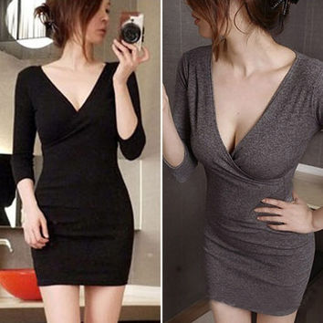 New Fashion Womens Sexy V-neck Long Sleeve Bodycon Cocktail Party Evening Clubwear Short Mini Dress Top Low-cut Basic T-Shirt F_F