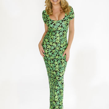 Marijuana Print Maxi Dress-Marijuana Clothing