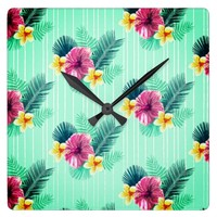 Cool blue base with pink floral texture square wall clock