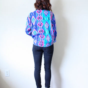 25% OFF SPRING SALE Vintage Boho // retro southwestern tribal print boho button up shirt // blue shirt // aztec shirt