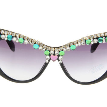 Rack Handcrafts Black Cats Crystal Rhinestone Sunglasses [6047693249]