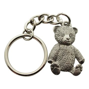 Teddy Bear Keychain ~ Antiqued Pewter ~ Keychain