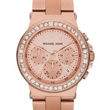 DCCKUG3 Michael Kors Ladies Dylan Rosegold Tone Chrono Crystal Accent Watch MK5586