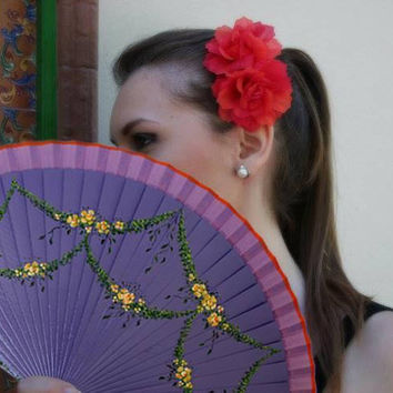 Spanish folding fan, Hand painted, Violet color with Yellow flowers, Free shipping to USA