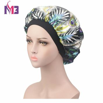 Fashion Women Satin Bonnet Print Hat Turban Headwear Soft Silk Donna Sleep Cap Ladies Hair Cover Hair Accessories
