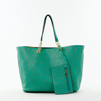 Perforated Double Bag Tote in Green