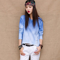 Gradient Color Long Sleeve Top