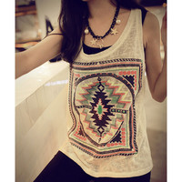 Fashion Women Retro V Neck Cute Tank Tops