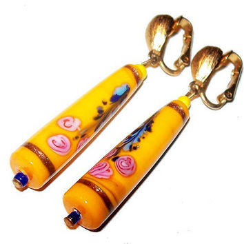 """Yellow Glass Bead Earrings Signed NEWHOUSE Yellow Hand Painted Flowers Gold Clip On's 2.5"""" Vintage"""