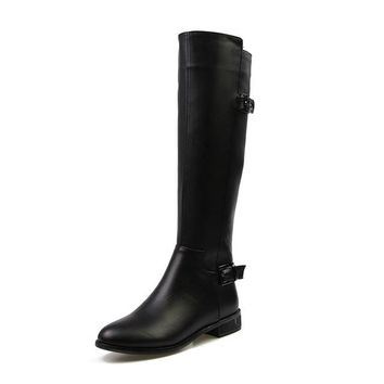 Copper High Quality Genuine Leather Knee High Boots