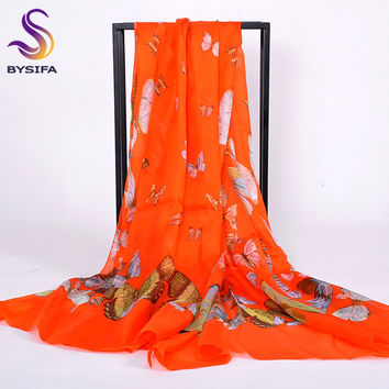 [BYSIFA] Orange Red Butterfly Ladies's Scarves Wraps Printed Fashion Accessories 100% Pure Silk Shawl Scarf For Spring Autumn