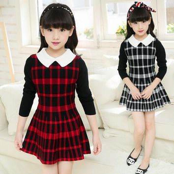 2017 Autumn Girl Dress Children Dresses Plaid Vestidos Girls Clothes Kids Costume 6-15T Long Sleeve Toddler Teenage Fall Spring