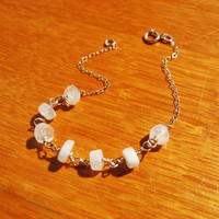Moonstone Bracelet, 14k Gold Fill or Sterling Silver, Delicate Jewelry, Rainbow Moonstone bracelet, Delicate Thin Chain, Bridesmaid Gift
