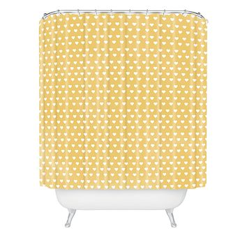 Allyson Johnson Dainty Yellow Hearts Shower Curtain