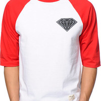 Diamond Supply Co. Big Brilliant Red & White Baseball Tee Shirt