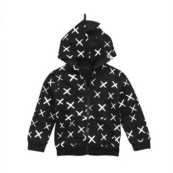Fashion Dinosaur Kids Baby Boys Girls Zipper Top Cardigan Child Casual Sweatshirt Hoodie