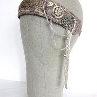 Silver Screen - Handmade Flapper Headpiece with Beaded Fringe and Antique Buttons - 1920s Headband Tribal Fusion Headdress