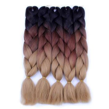 FALEMEI Ombre Braiding Hair For Crochet Twist Braid 24inch100/pcs High temperature wire synthetic Two Tone afro Jumbo braid hair