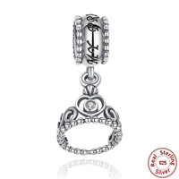 9 Style 925 Sterling Silver My Princess Clear CZ Pendant Dangling Tiara Charm Charms Fit Pandora Bracelet Jewelry Making S014
