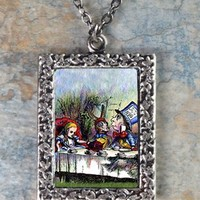 Alice in Wonderland at the Tea Party Frame Necklace