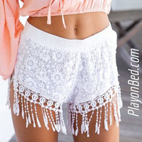 Fashion Summer Lace Tassel Shorts European Style