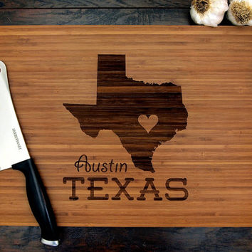 Love Austin Texas Cutting Board (Pictured in Amberl), approx. 12 x 16 inches, laser engraved, bamboo wood, Wedding gift or Anniversary gift